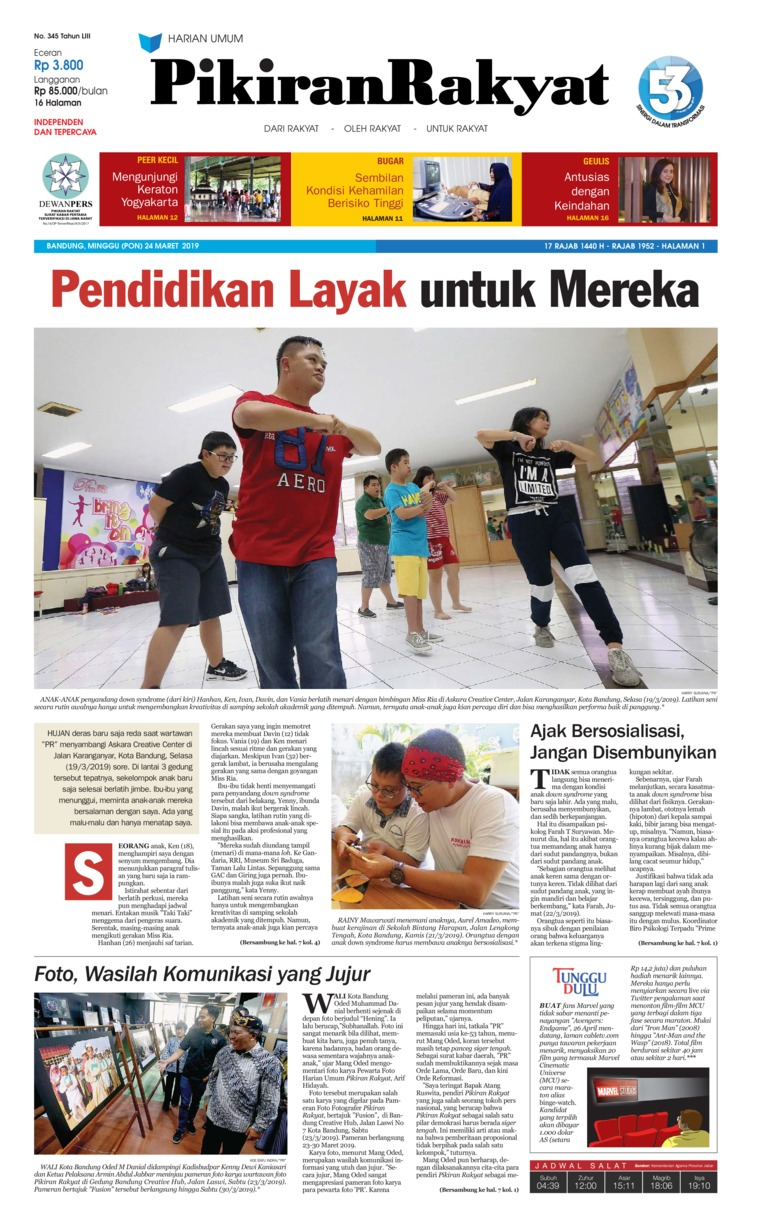 Pikiran Rakyat Digital Newspaper 24 March 2019