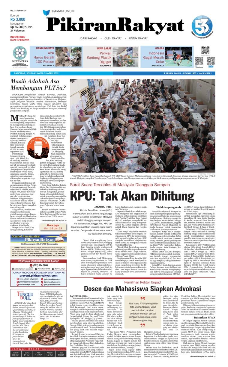 Koran Digital Pikiran Rakyat 15 April 2019