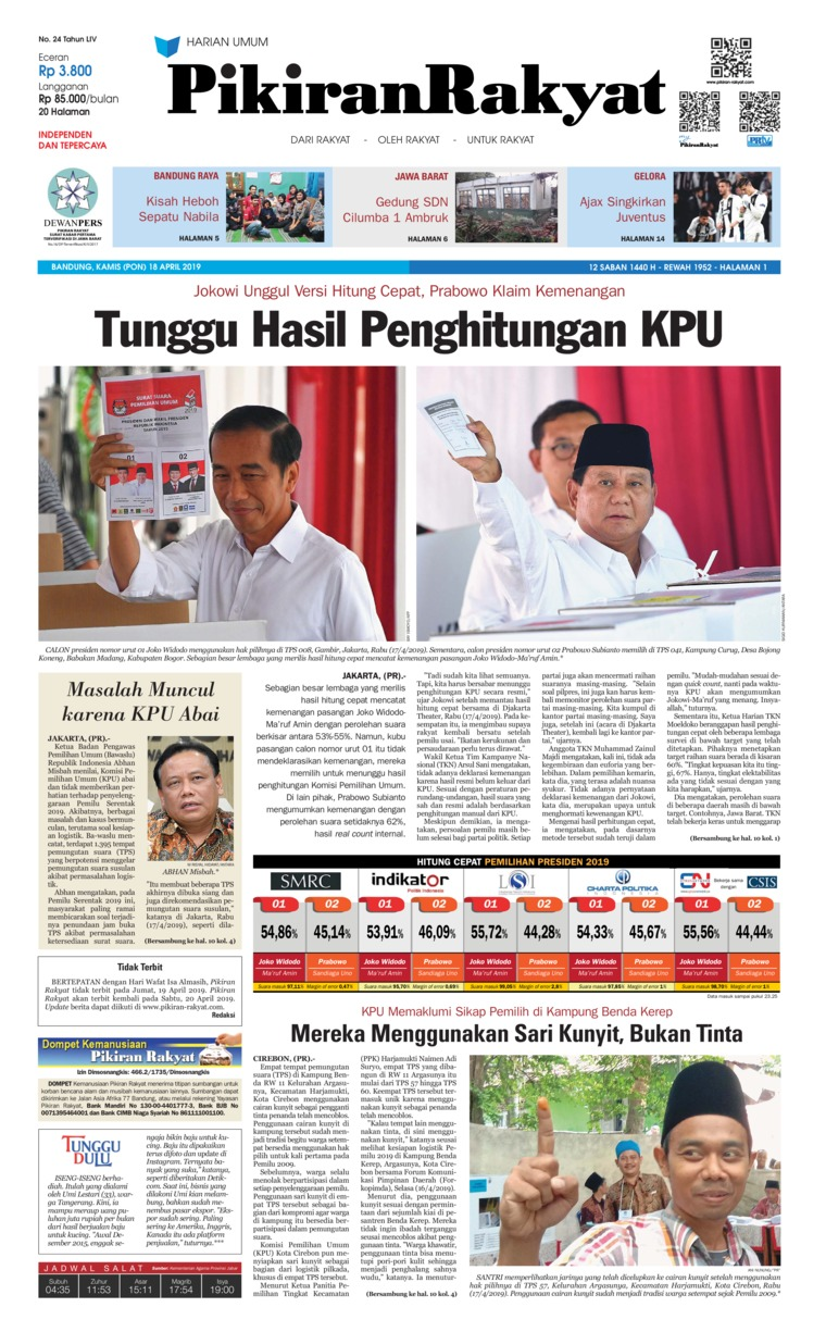 Pikiran Rakyat Digital Newspaper 18 April 2019