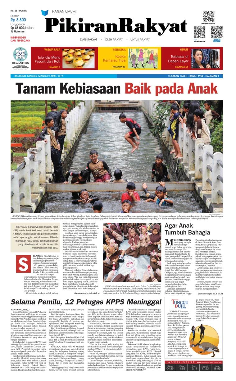 Pikiran Rakyat Digital Newspaper 21 April 2019