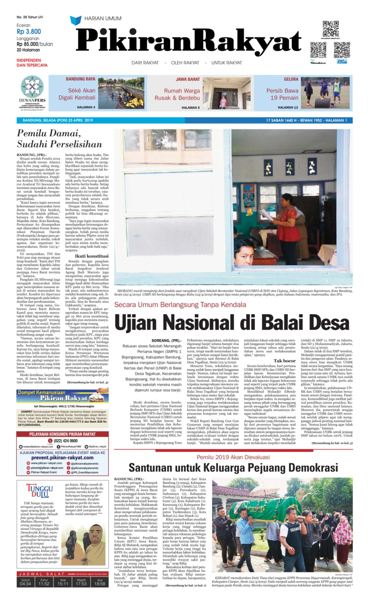 Pikiran Rakyat Digital Newspaper 23 April 2019