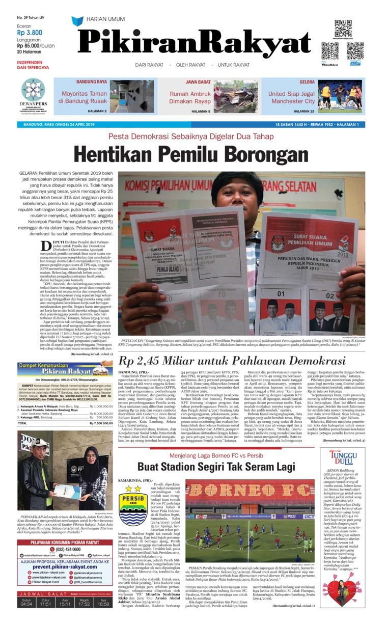 Pikiran Rakyat Digital Newspaper 24 April 2019
