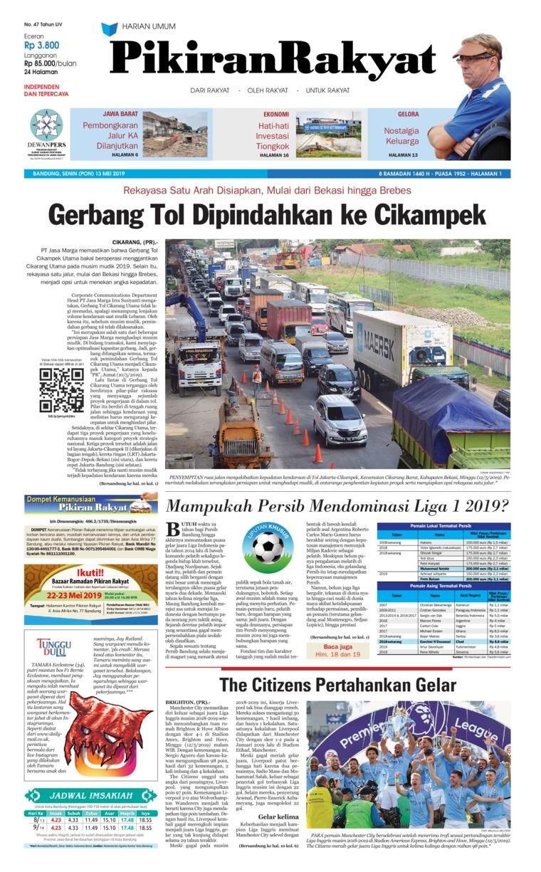 Koran Digital Pikiran Rakyat 13 Mei 2019