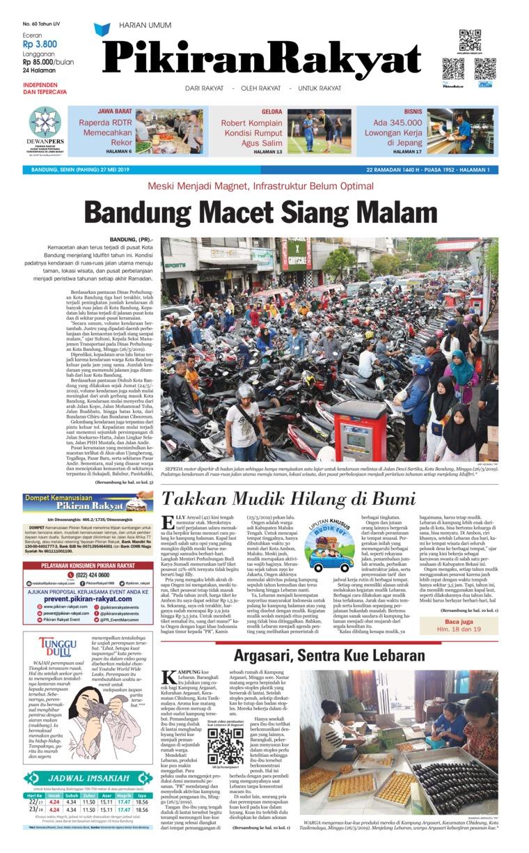 Pikiran Rakyat Digital Newspaper 27 May 2019