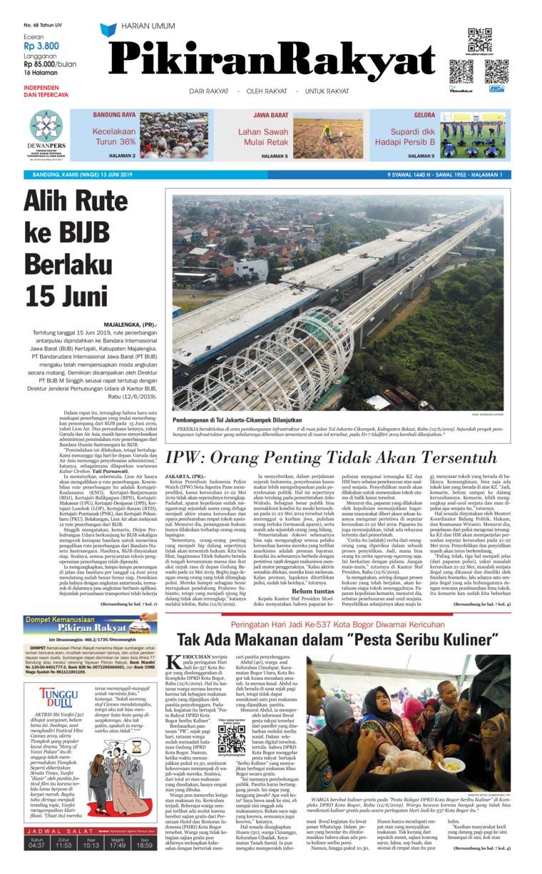 Pikiran Rakyat Digital Newspaper 13 June 2019