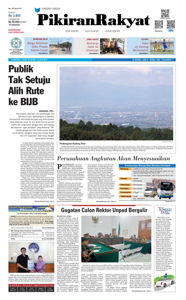 Pikiran Rakyat Digital Newspaper 14 June 2019