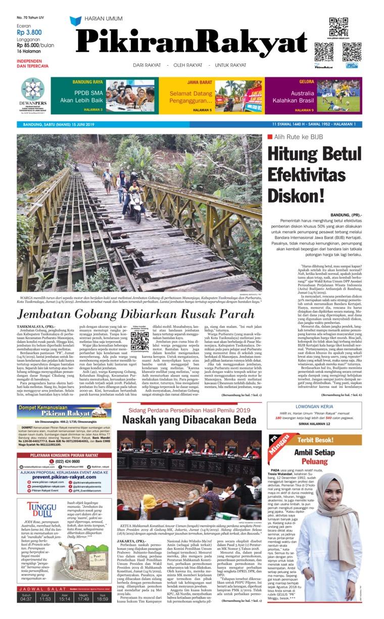 Pikiran Rakyat Digital Newspaper 15 June 2019