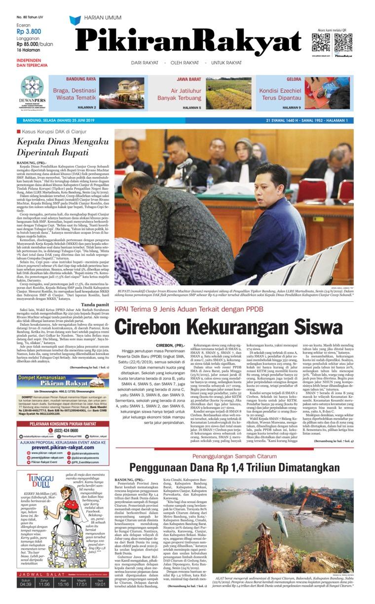 Pikiran Rakyat Digital Newspaper 25 June 2019