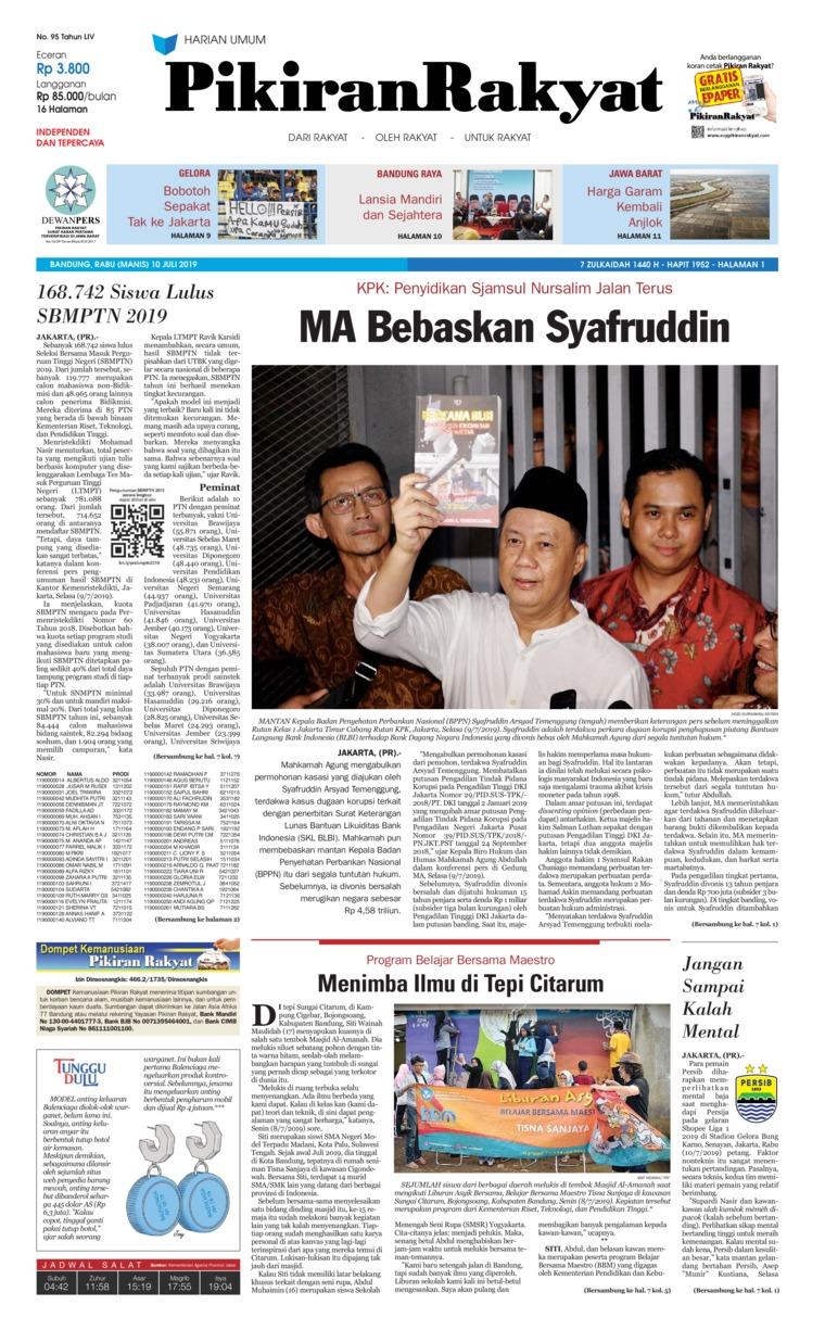 Koran Digital Pikiran Rakyat 10 Juli 2019