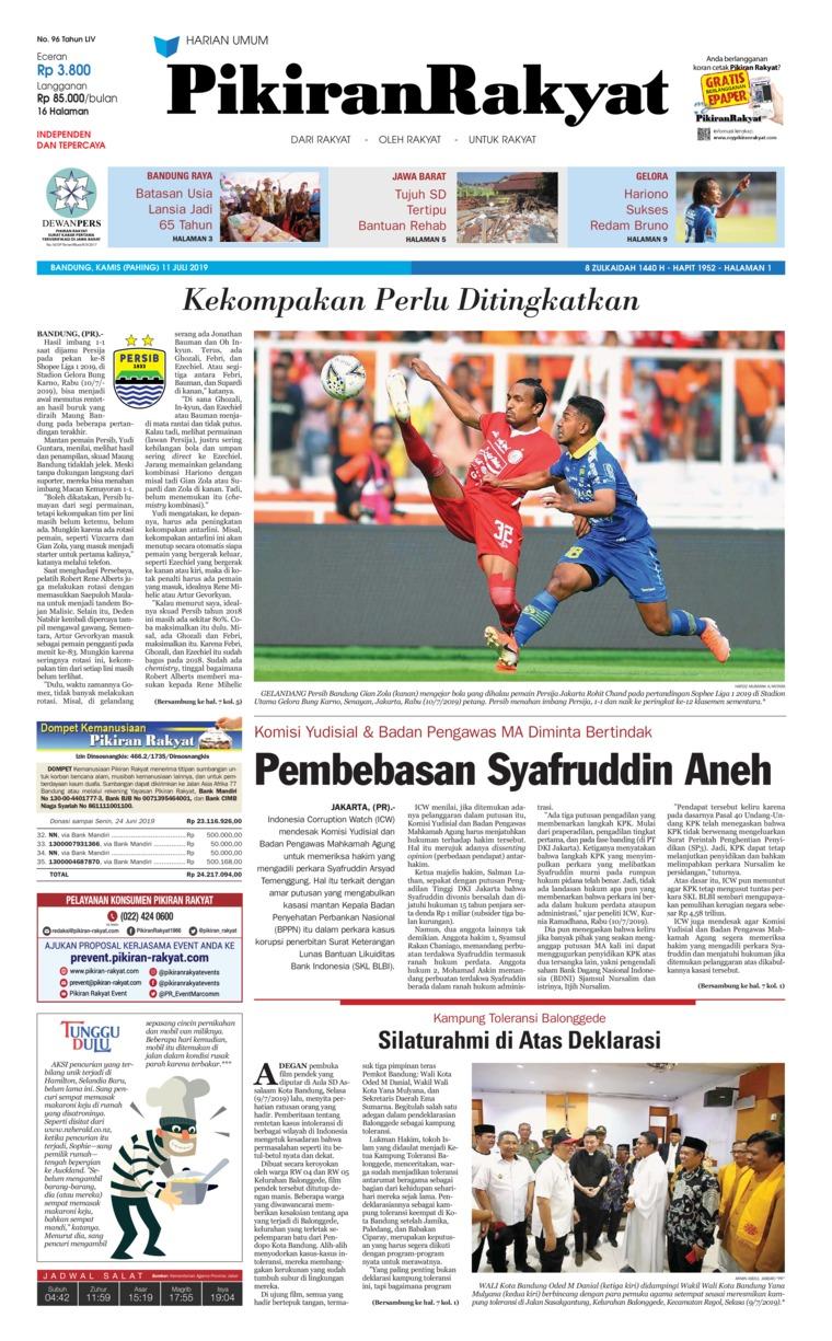 Pikiran Rakyat Digital Newspaper 11 July 2019