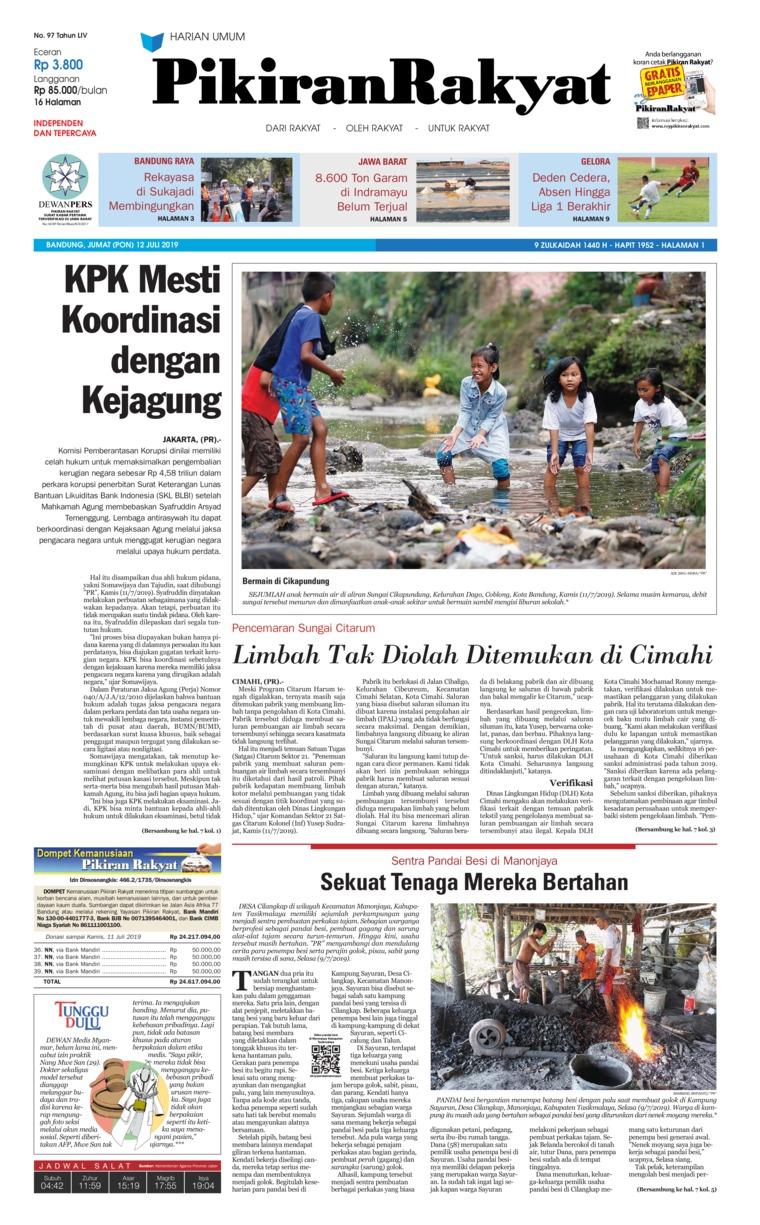 Pikiran Rakyat Digital Newspaper 12 July 2019