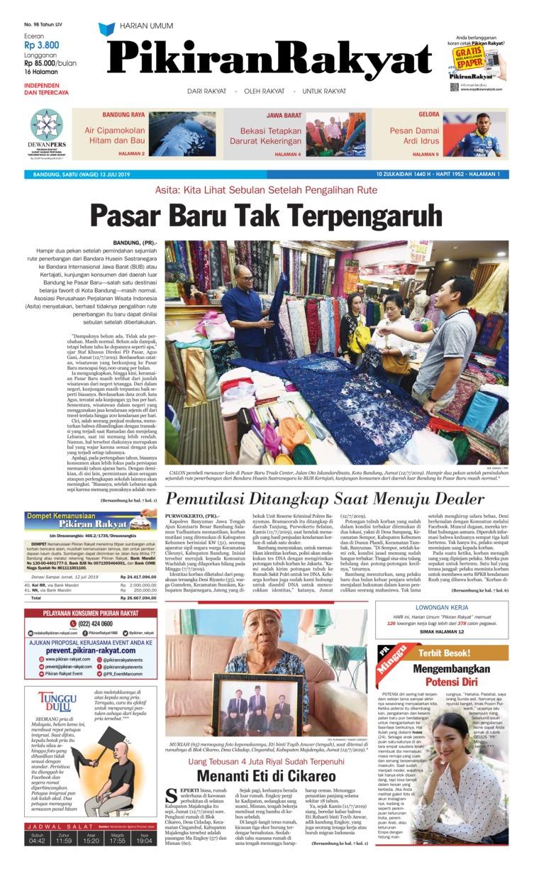Pikiran Rakyat Digital Newspaper 13 July 2019