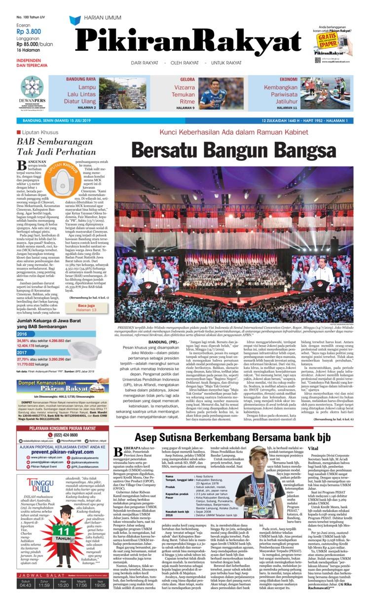 Pikiran Rakyat Digital Newspaper 15 July 2019