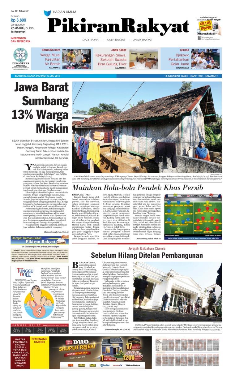 Koran Digital Pikiran Rakyat 16 Juli 2019