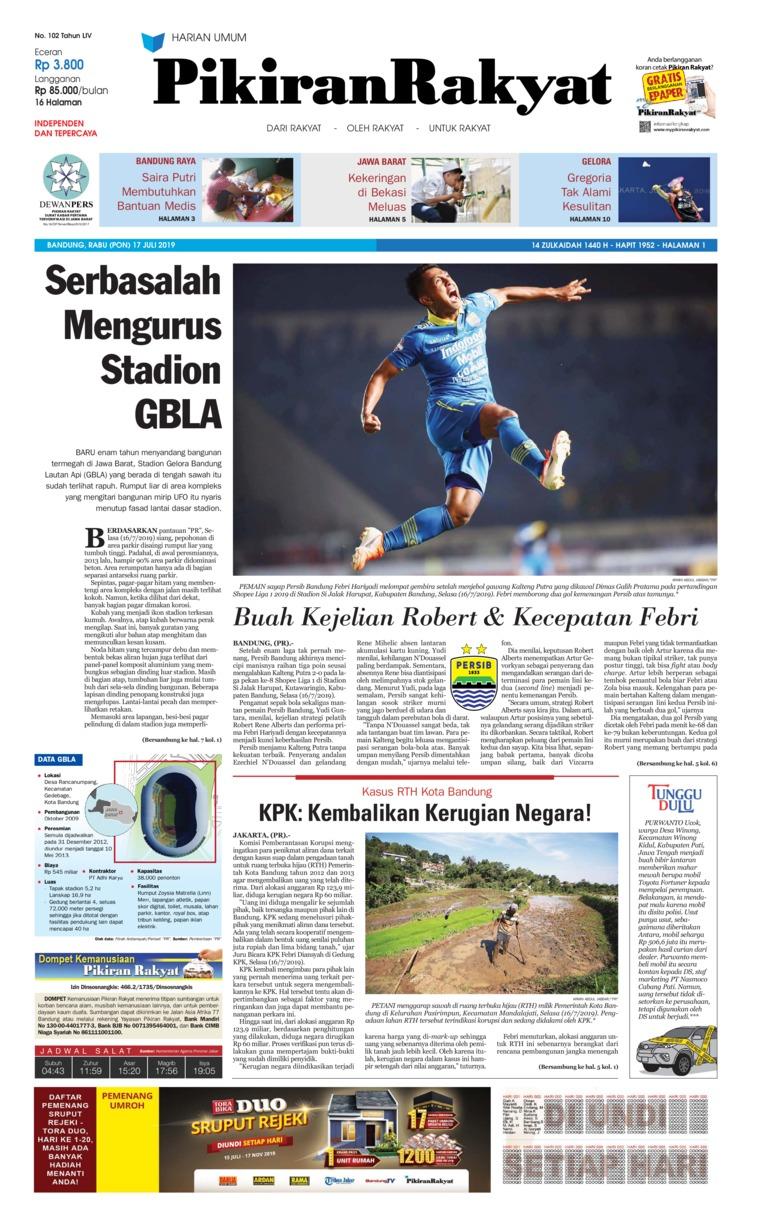 Pikiran Rakyat Digital Newspaper 17 July 2019
