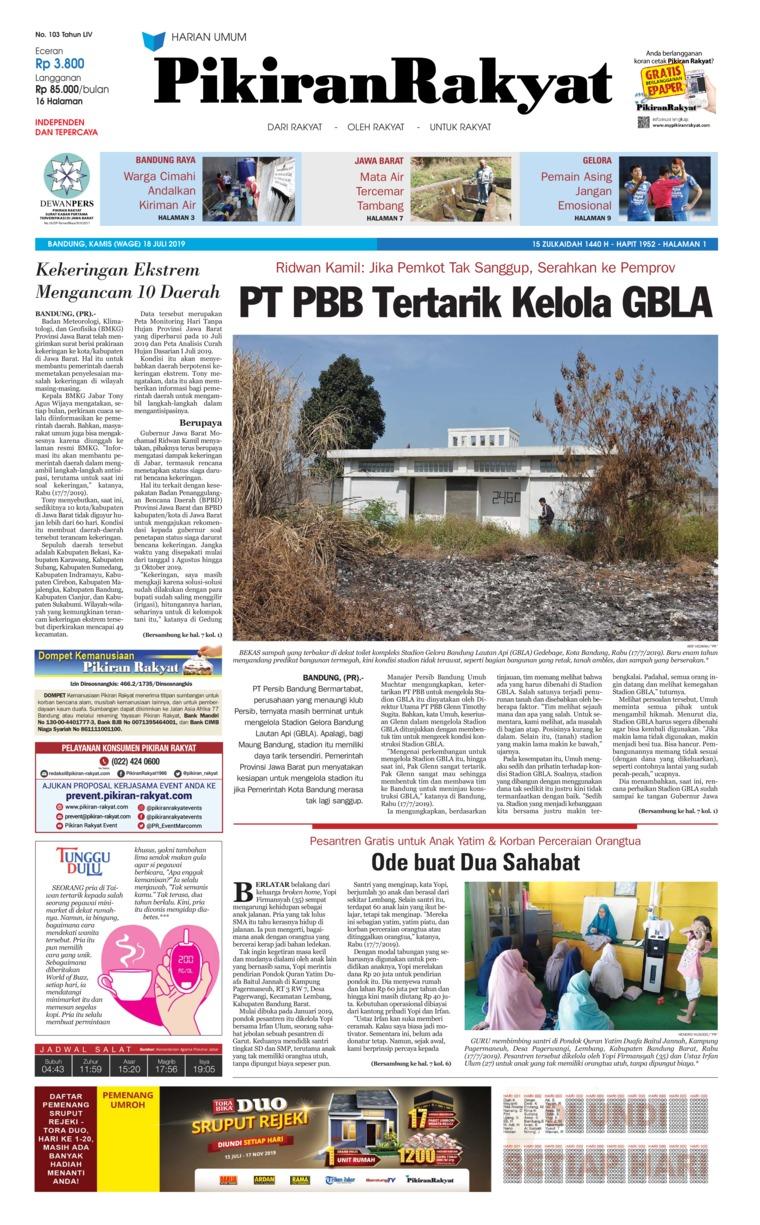 Koran Digital Pikiran Rakyat 18 Juli 2019