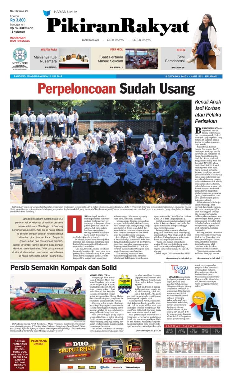 Koran Digital Pikiran Rakyat 21 Juli 2019