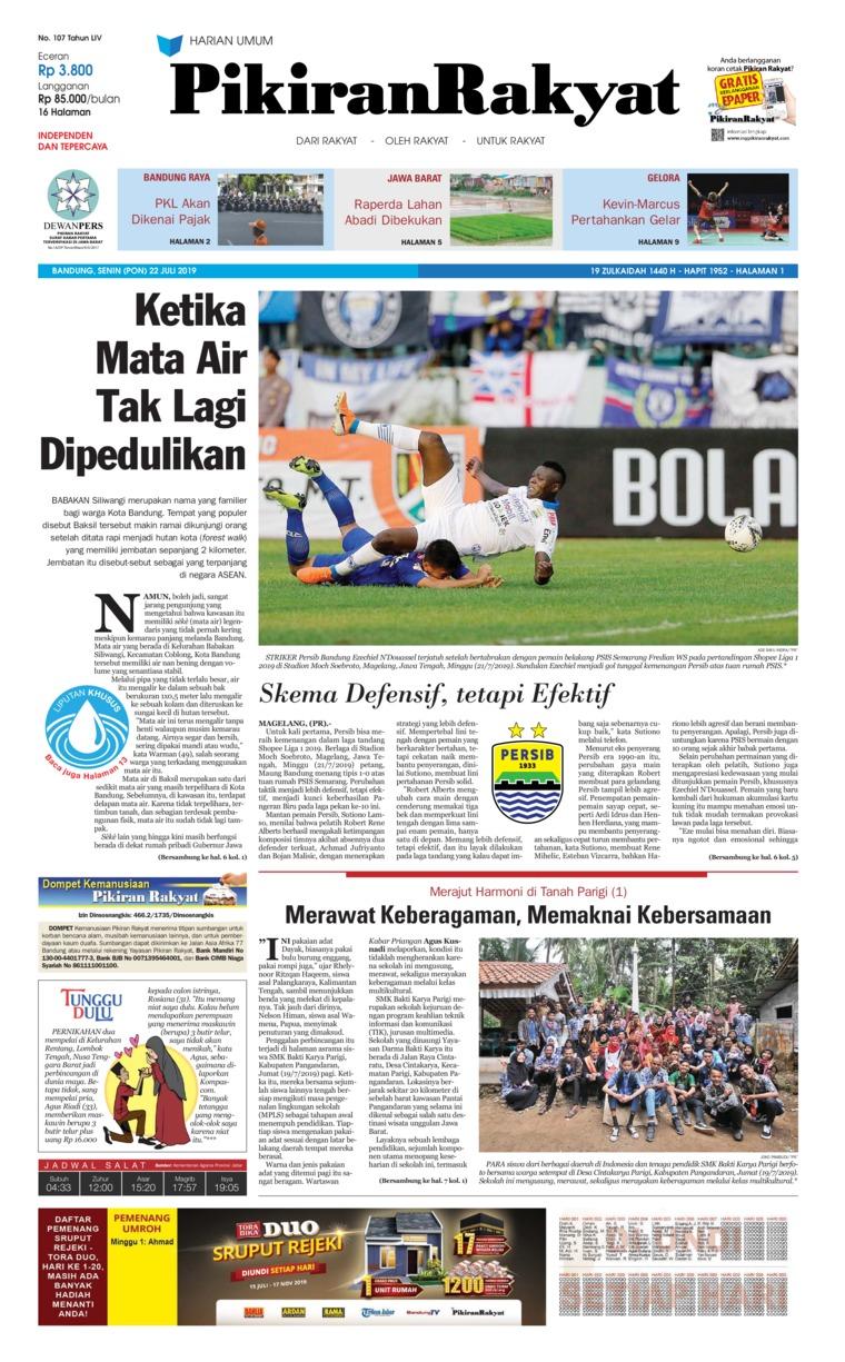 Pikiran Rakyat Digital Newspaper 22 July 2019