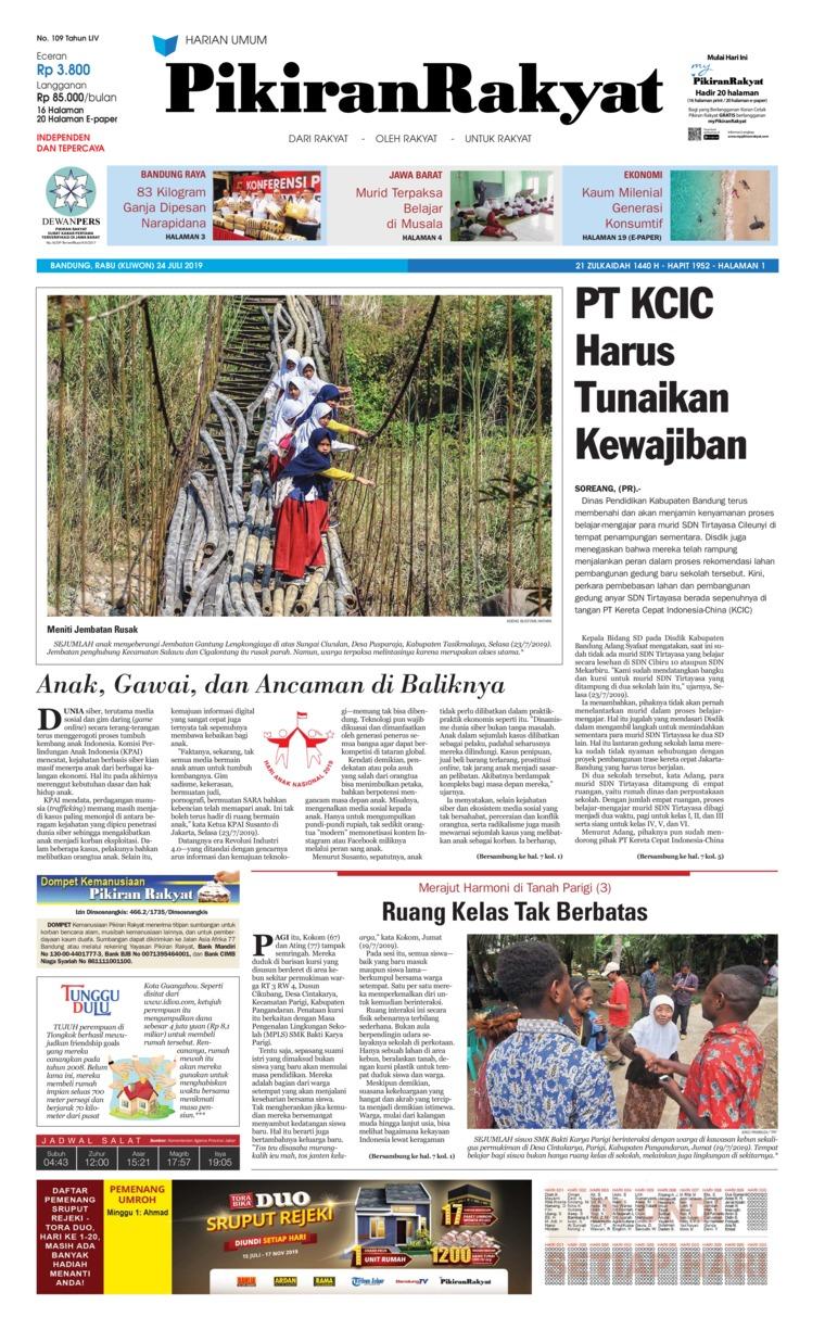 Pikiran Rakyat Digital Newspaper 24 July 2019