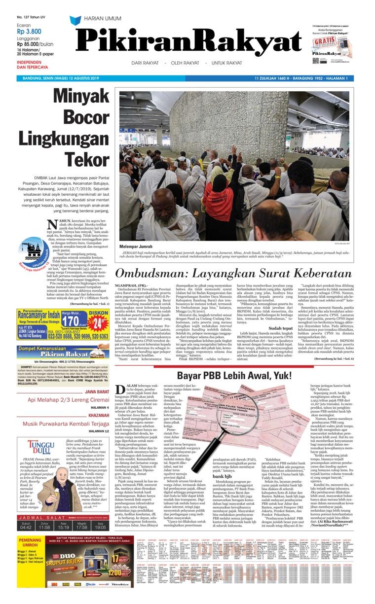 Pikiran Rakyat Digital Newspaper 12 August 2019