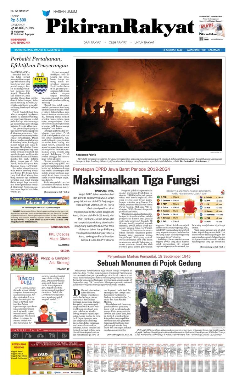 Pikiran Rakyat Digital Newspaper 14 August 2019
