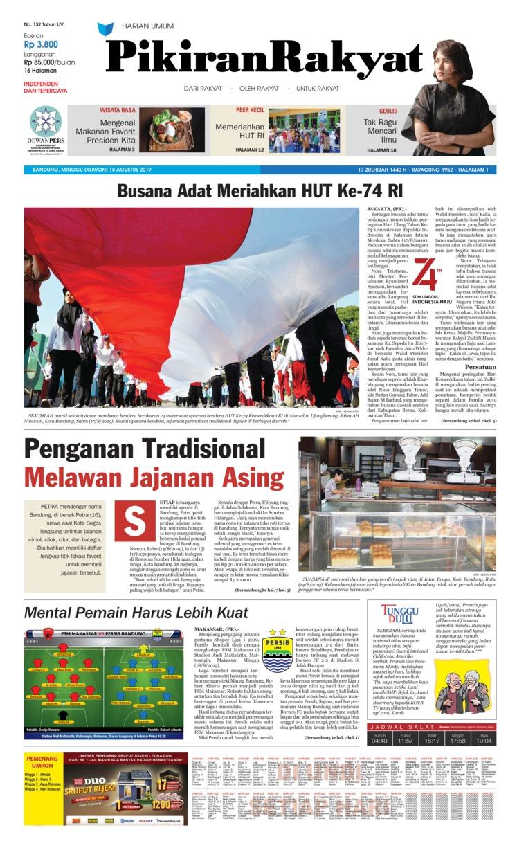 Pikiran Rakyat Digital Newspaper 18 August 2019