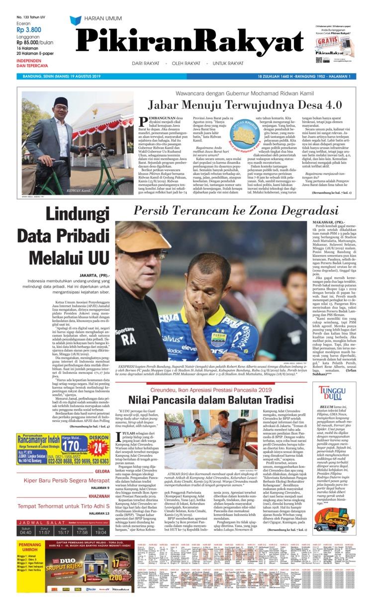 Koran Digital Pikiran Rakyat 19 Agustus 2019