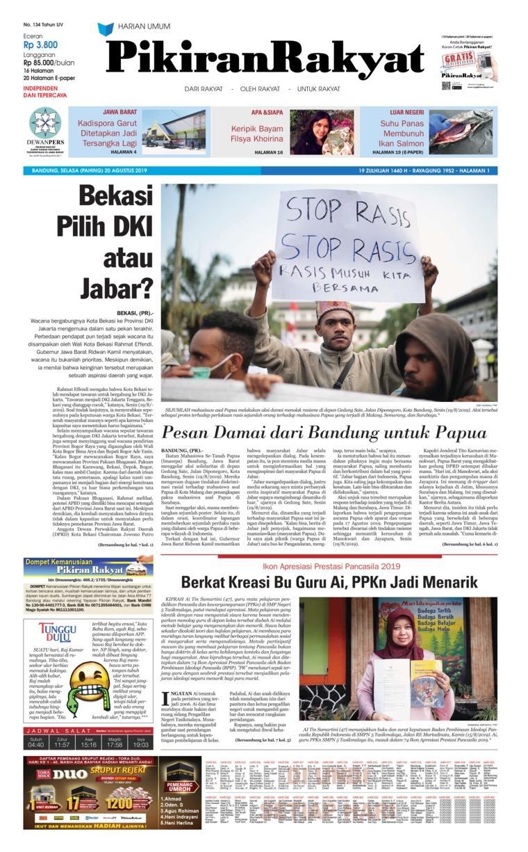 Koran Digital Pikiran Rakyat 20 Agustus 2019