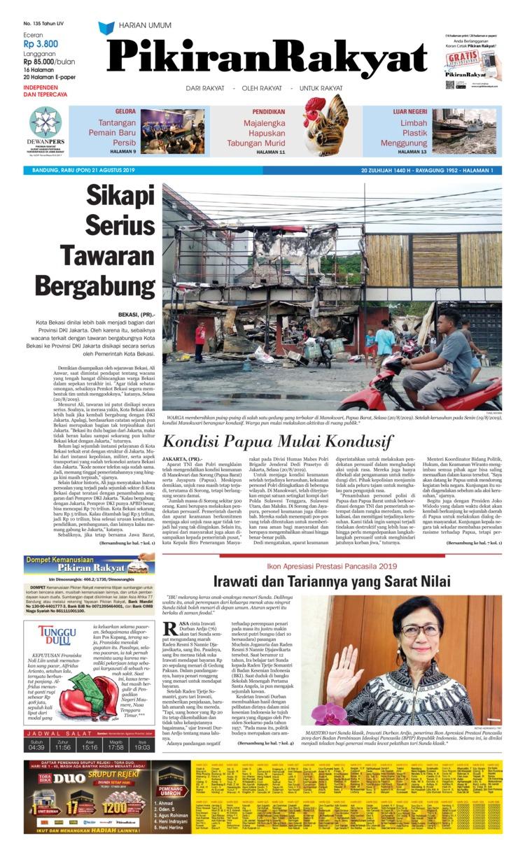 Pikiran Rakyat Digital Newspaper 21 August 2019