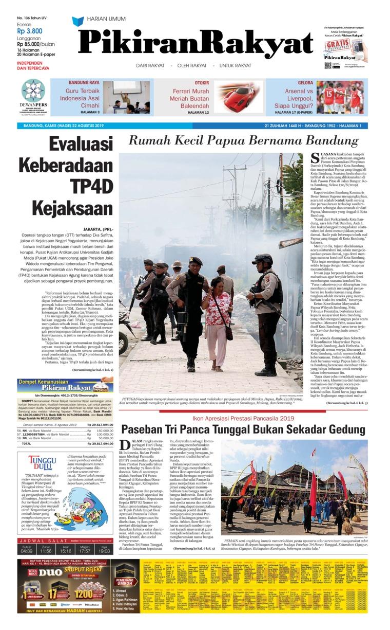 Koran Digital Pikiran Rakyat 22 Agustus 2019