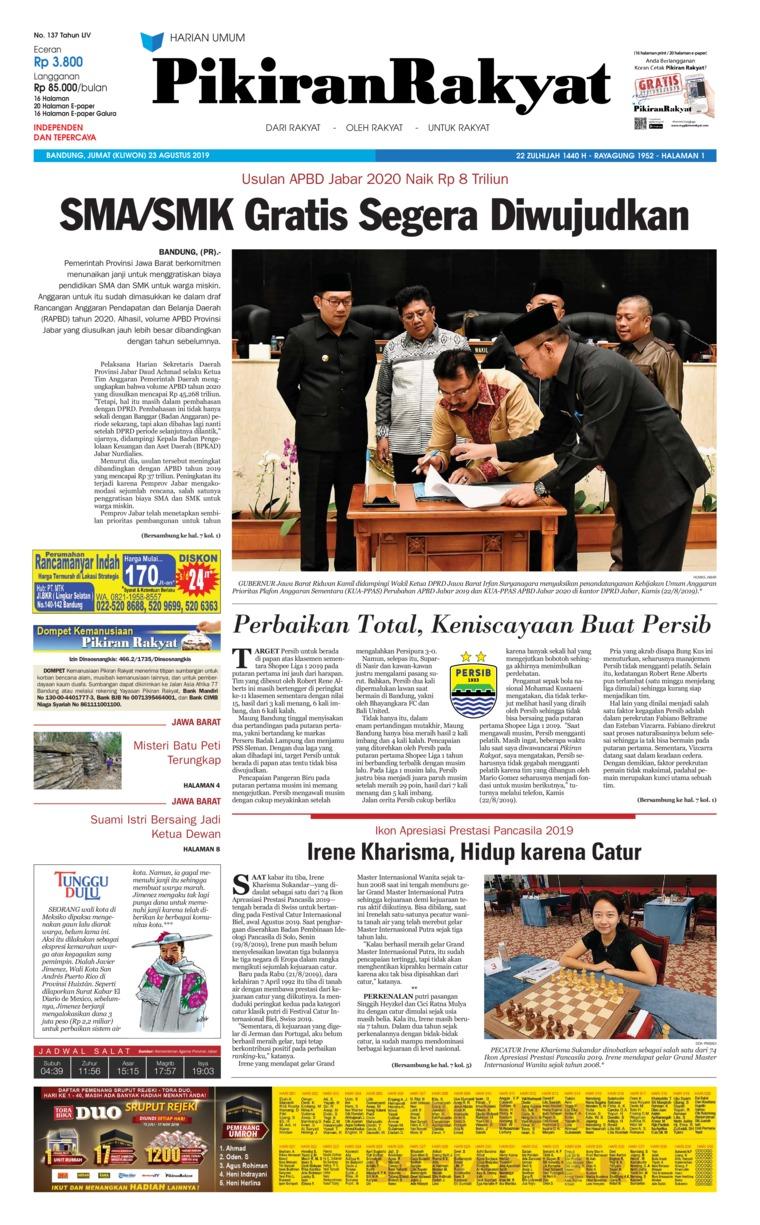 Pikiran Rakyat Digital Newspaper 23 August 2019