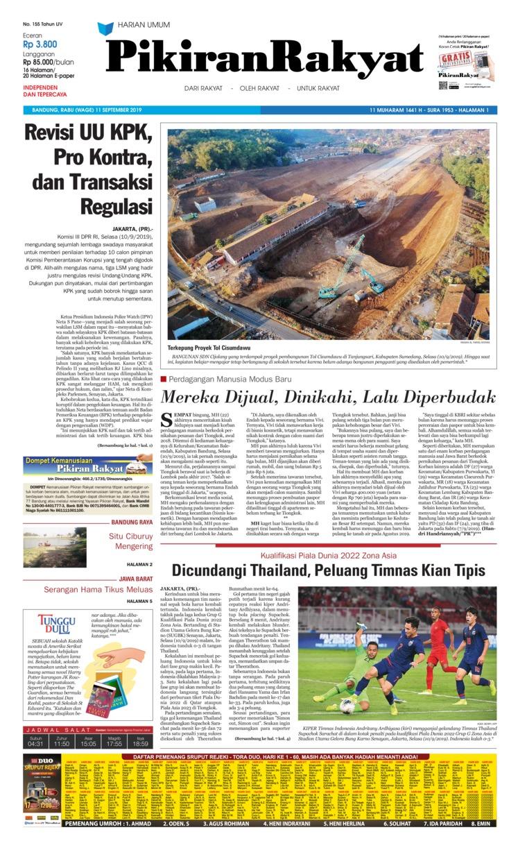 Pikiran Rakyat Digital Newspaper 11 September 2019
