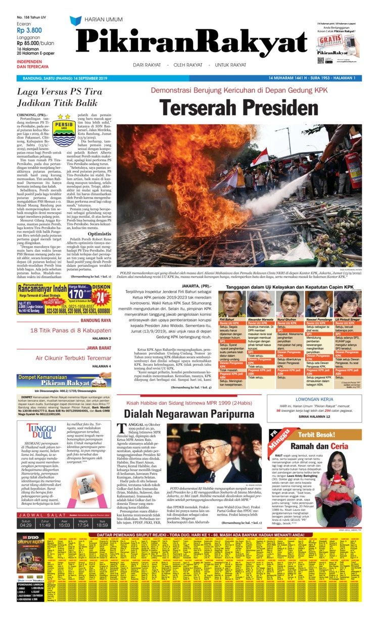 Pikiran Rakyat Digital Newspaper 14 September 2019