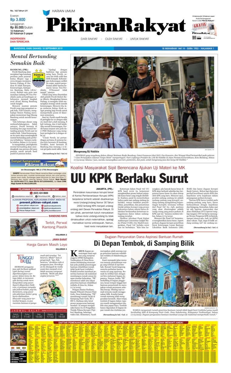 Koran Digital Pikiran Rakyat 18 September 2019