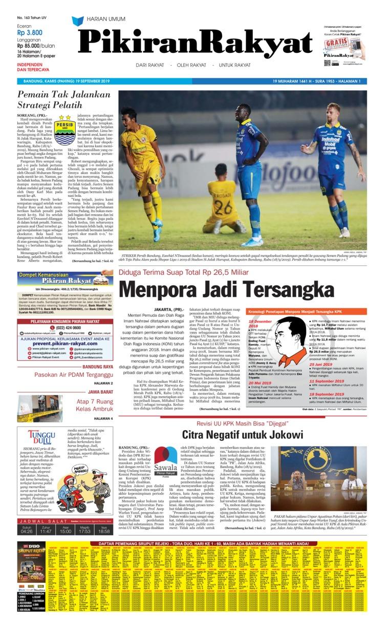 Pikiran Rakyat Digital Newspaper 19 September 2019
