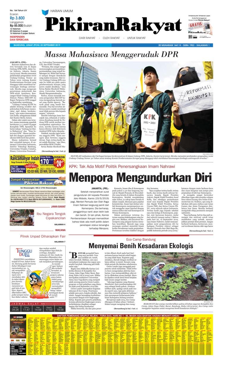 Pikiran Rakyat Digital Newspaper 20 September 2019