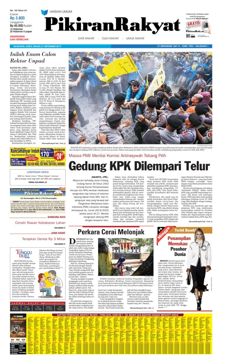 Pikiran Rakyat Digital Newspaper 21 September 2019