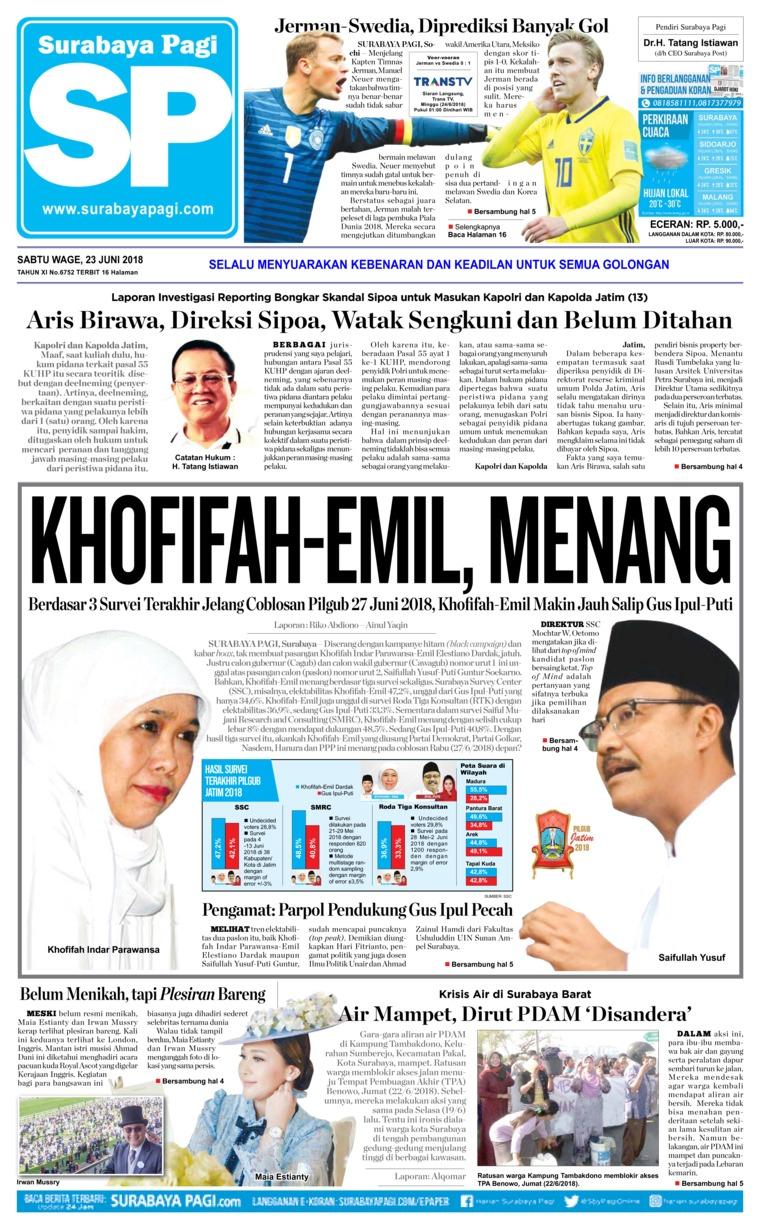 Koran Digital Surabaya Pagi 23 Juni 2018