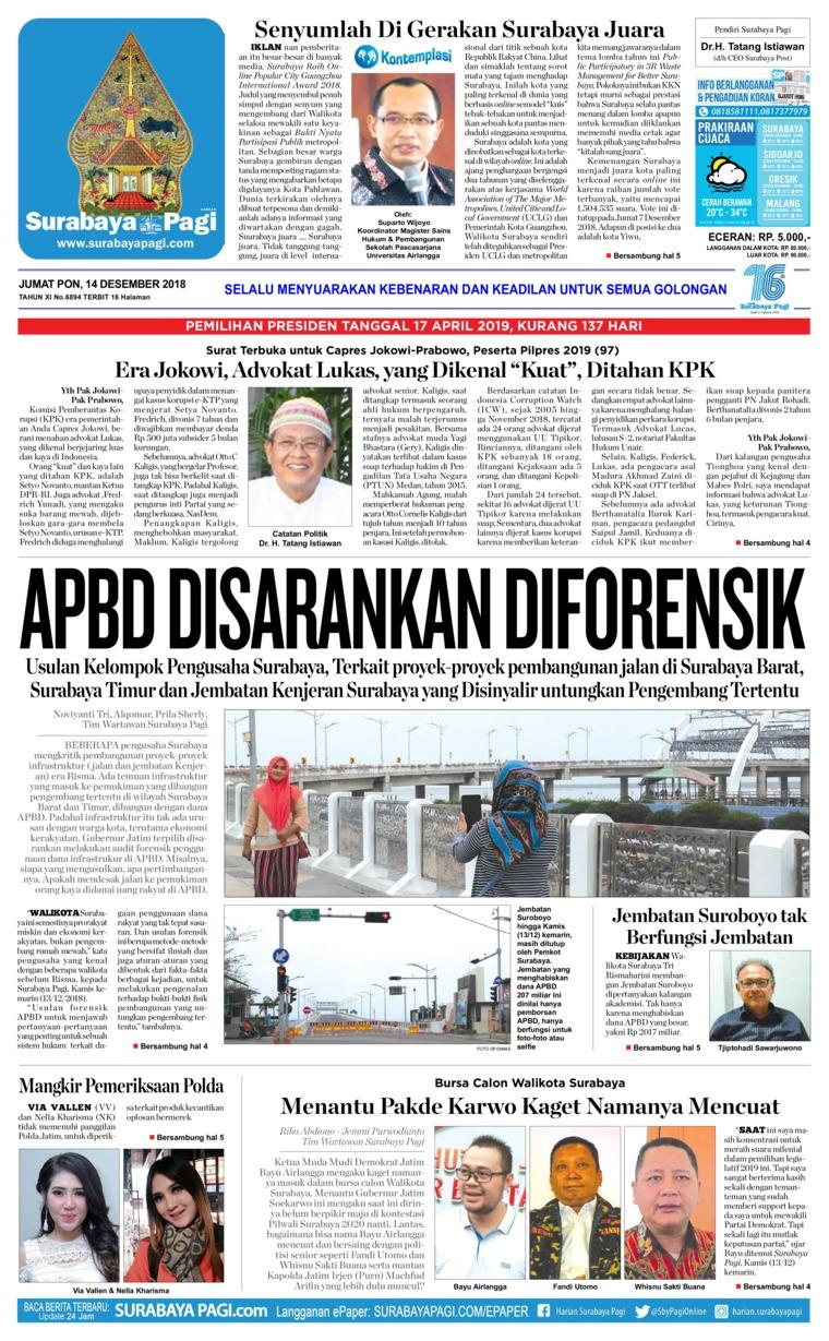 Koran Digital Surabaya Pagi 14 Desember 2018