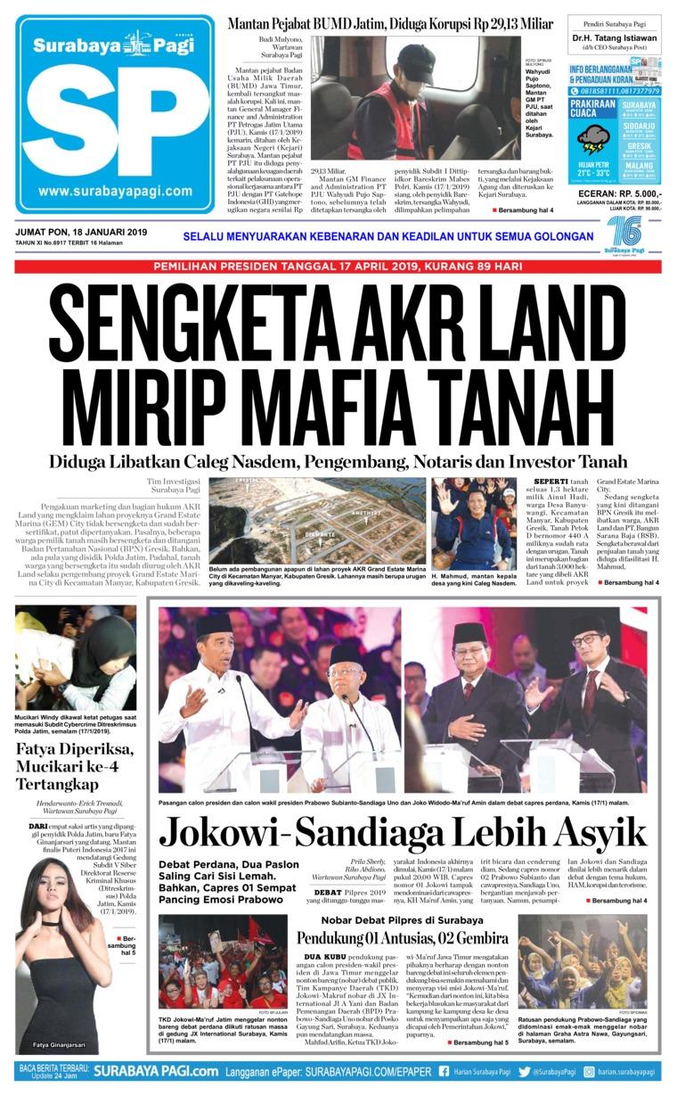 Koran Digital Surabaya Pagi 18 Januari 2019