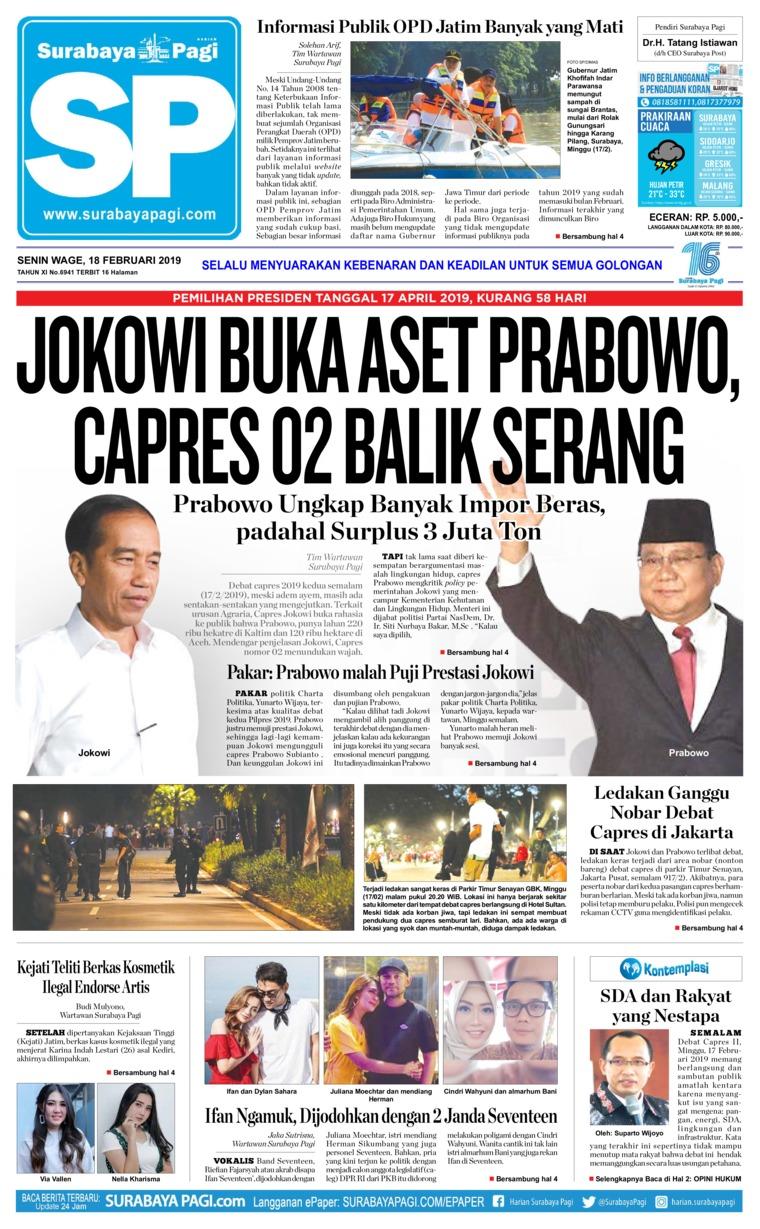 Koran Digital Surabaya Pagi 18 Februari 2019