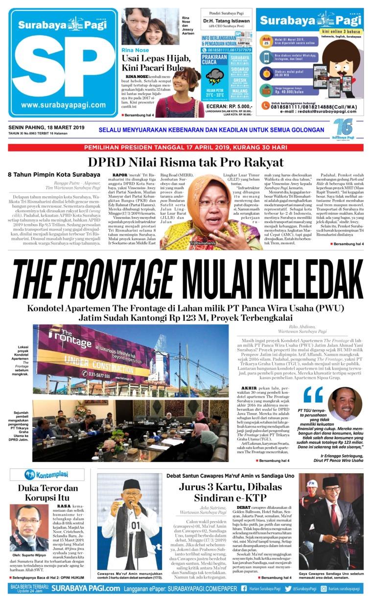 Koran Digital Surabaya Pagi 18 Maret 2019