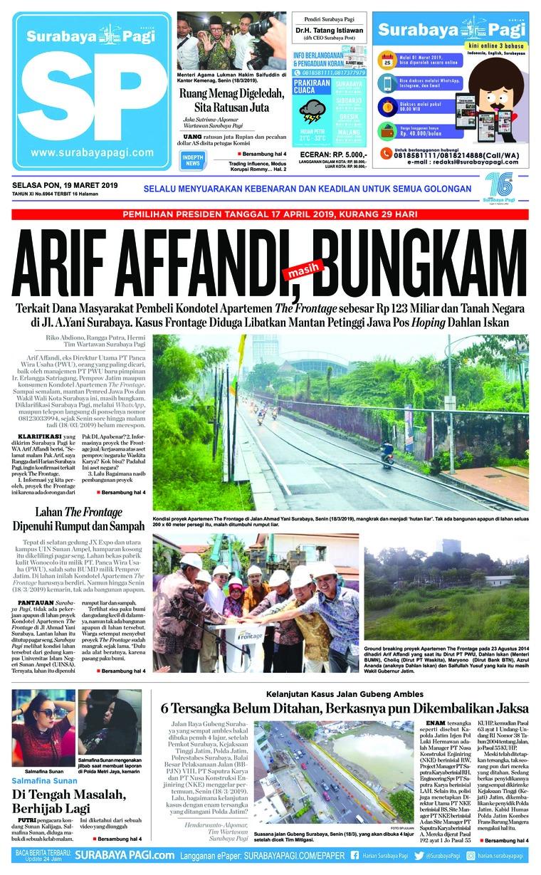 Koran Digital Surabaya Pagi 19 Maret 2019