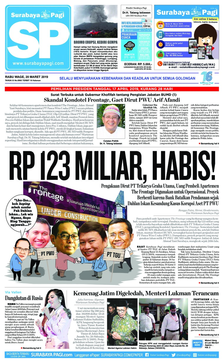 Koran Digital Surabaya Pagi 20 Maret 2019