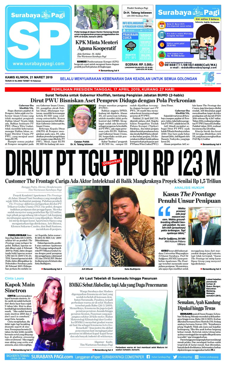 Koran Digital Surabaya Pagi 21 Maret 2019