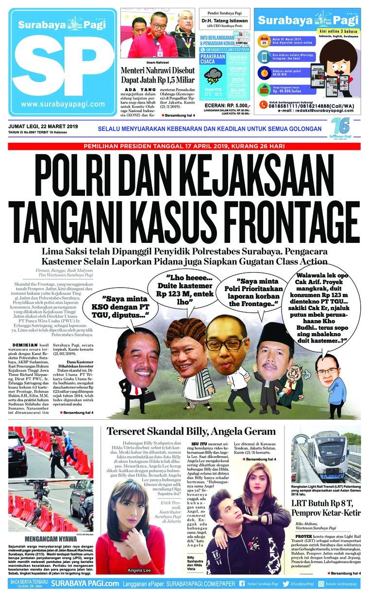 Koran Digital Surabaya Pagi 22 Maret 2019