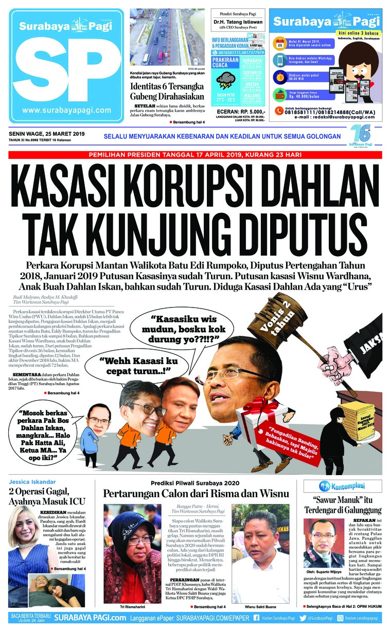 Koran Digital Surabaya Pagi 25 Maret 2019