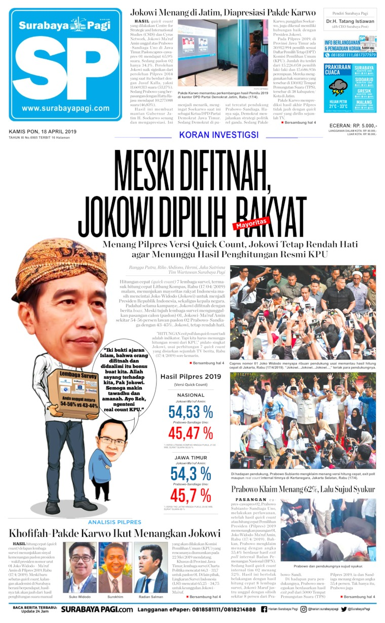 Koran Digital Surabaya Pagi 18 April 2019