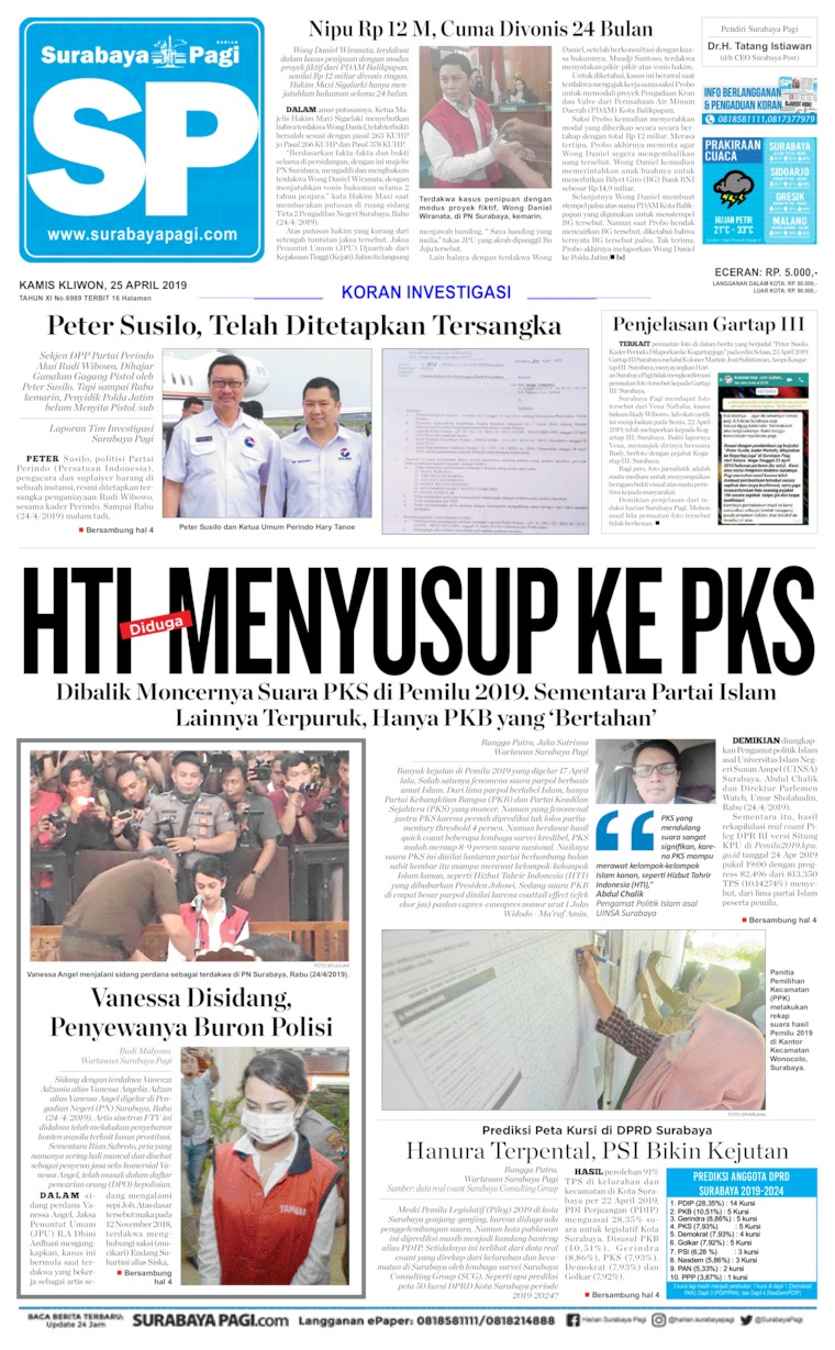 Koran Digital Surabaya Pagi 25 April 2019