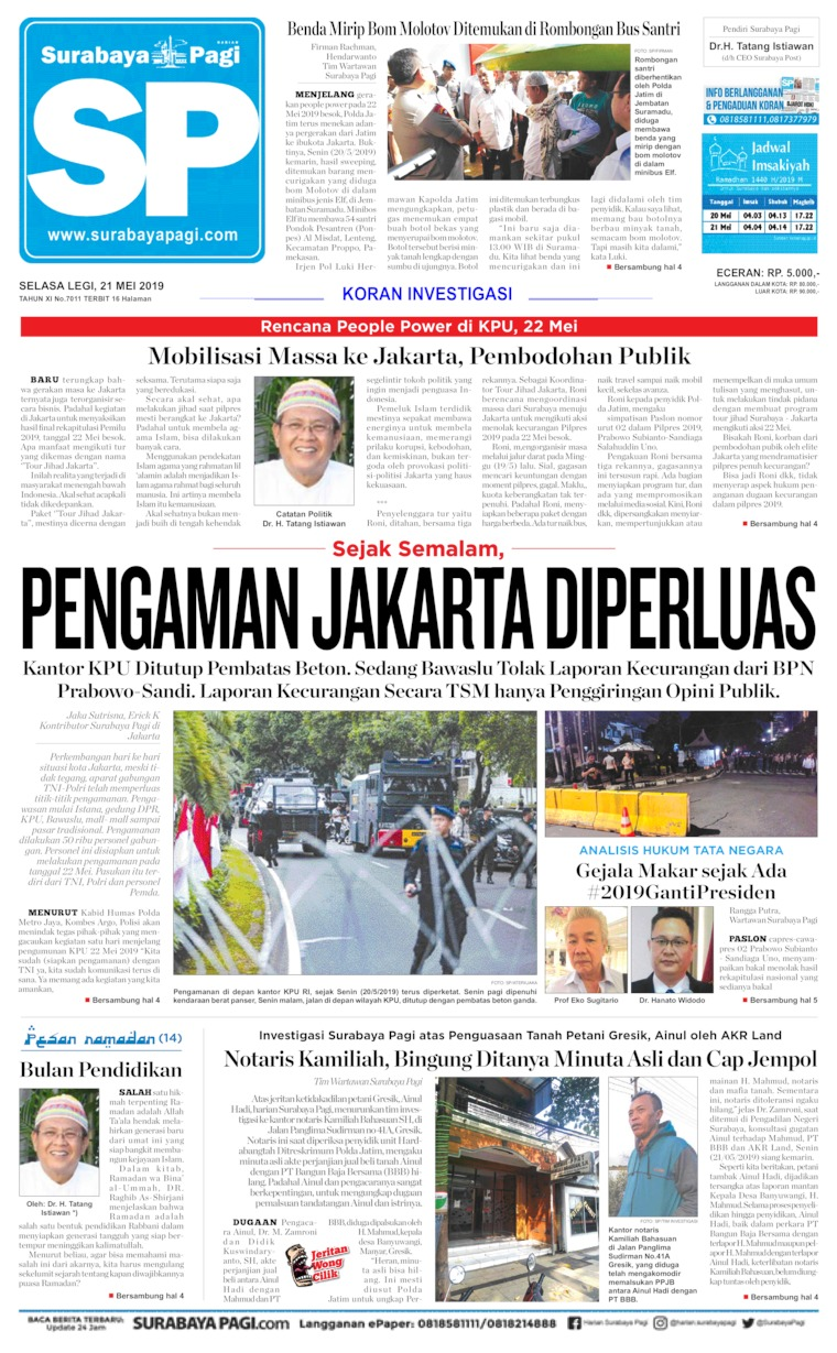 Surabaya Pagi Digital Newspaper 21 May 2019